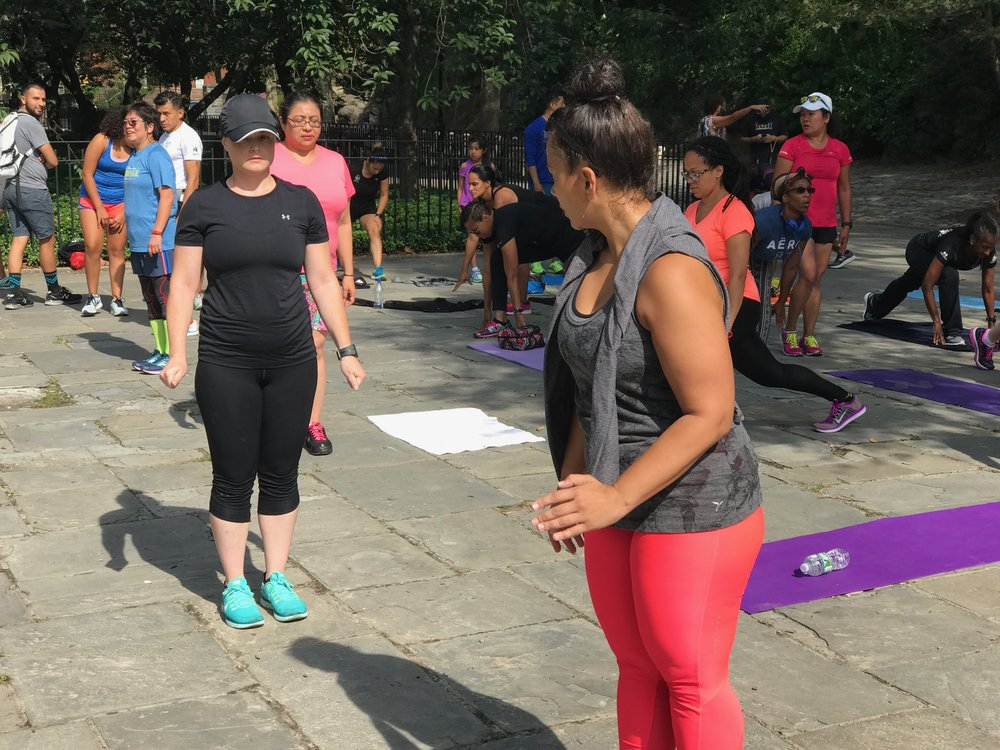 Kelly and tag team partner, Dawn, at a #RunPainFree Workout event NYC 2017