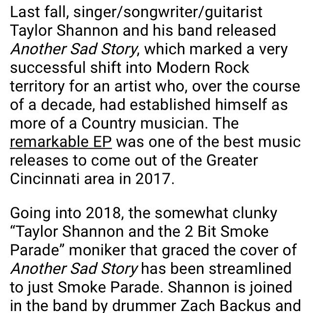 "Check out the rad write up on Smoke Parade and the new ""Solid Ground"" video from @citybeatcincy thank you! Link in Bio! #smokeparade #citybeat #mikebreen #cincinnatimusic #solidground"