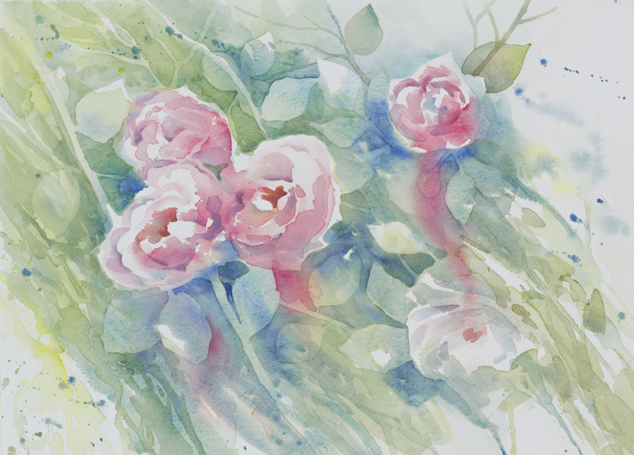 """Rosebush"", watercolor, 10x14"