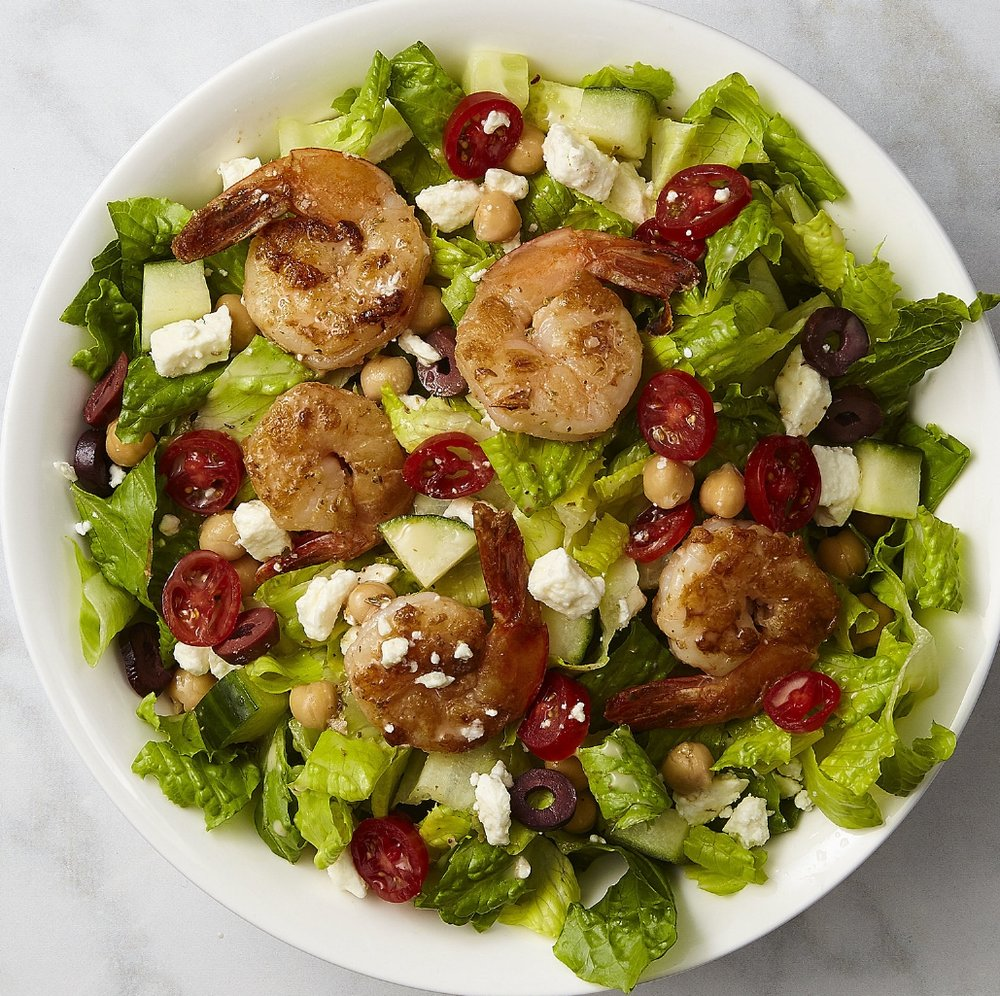 Athena  Romaine, grilled shrimp cucumber, tomato, Kalamata olives, feta, chickpeas   (360 cals)  ; Greek dressing.   (+80 cals)
