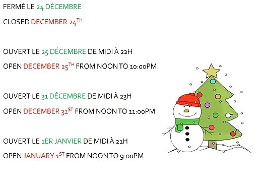 En dehors de ces dates nous sommes ouvert comme d'habitude!  Joyeuses fêtes! ***** Apart from these dates, we are open as usual!  Happy holidays!!