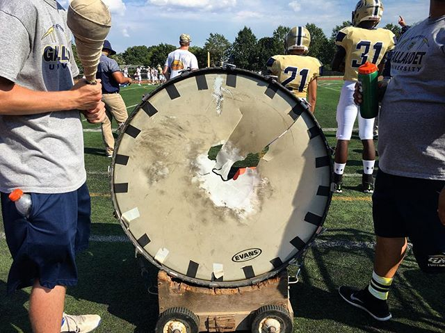 Time to buy a new drum. #deafknocks #gameday #dc #gallaudet #football #anyonelikemeproject #gubison #bisonfootball