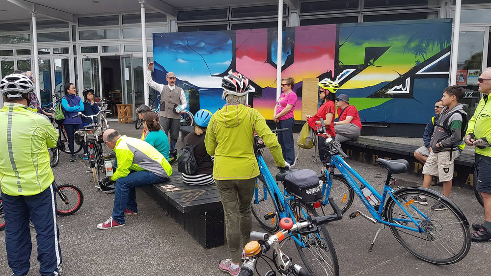 Bike Kitchen had it's first guided tour this weekend, led by Bike Kitchen co founder Richard Barter. Richard led this two hour heritage Tour around the Puketapapa area taking in all the wonderful tracks the area now has to offer.   Get in touch with us if you have a group that may be interested in our services.