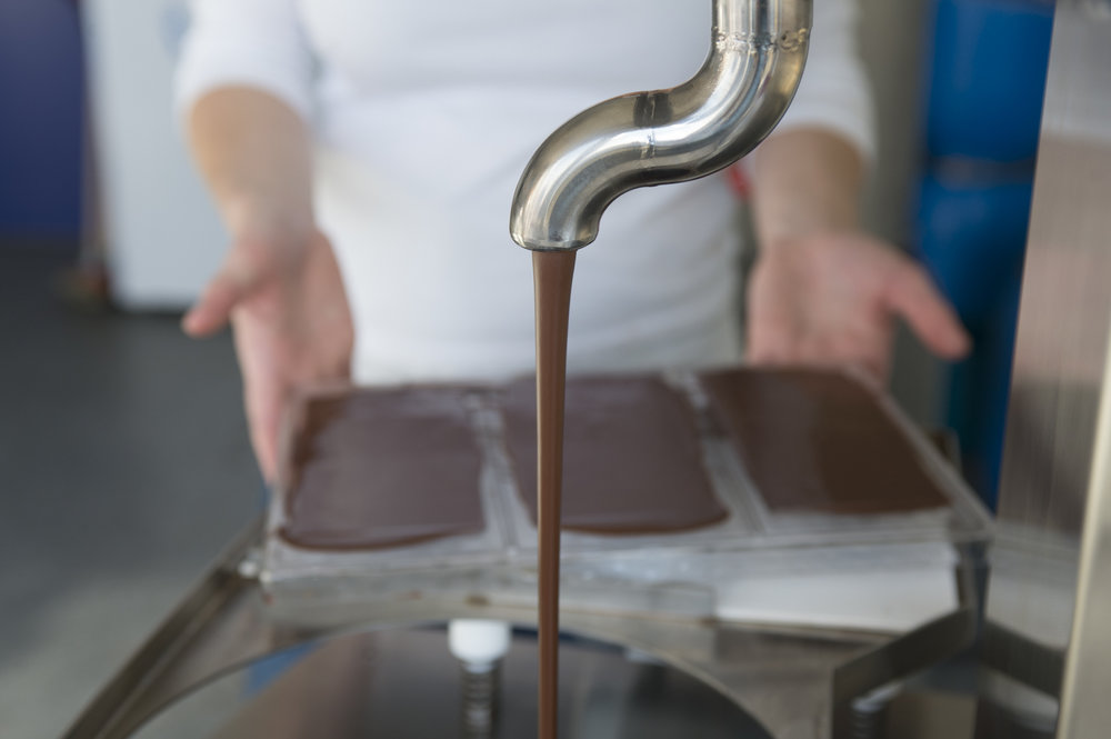 Garçoa bean to bar chocolate production - tempering and moulding the chocolate.jpg