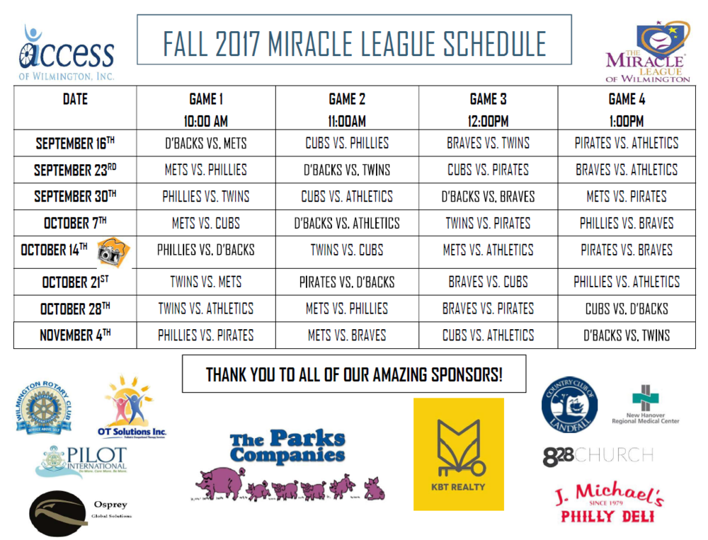 Fall 2017 Miracle League Schedule.PNG