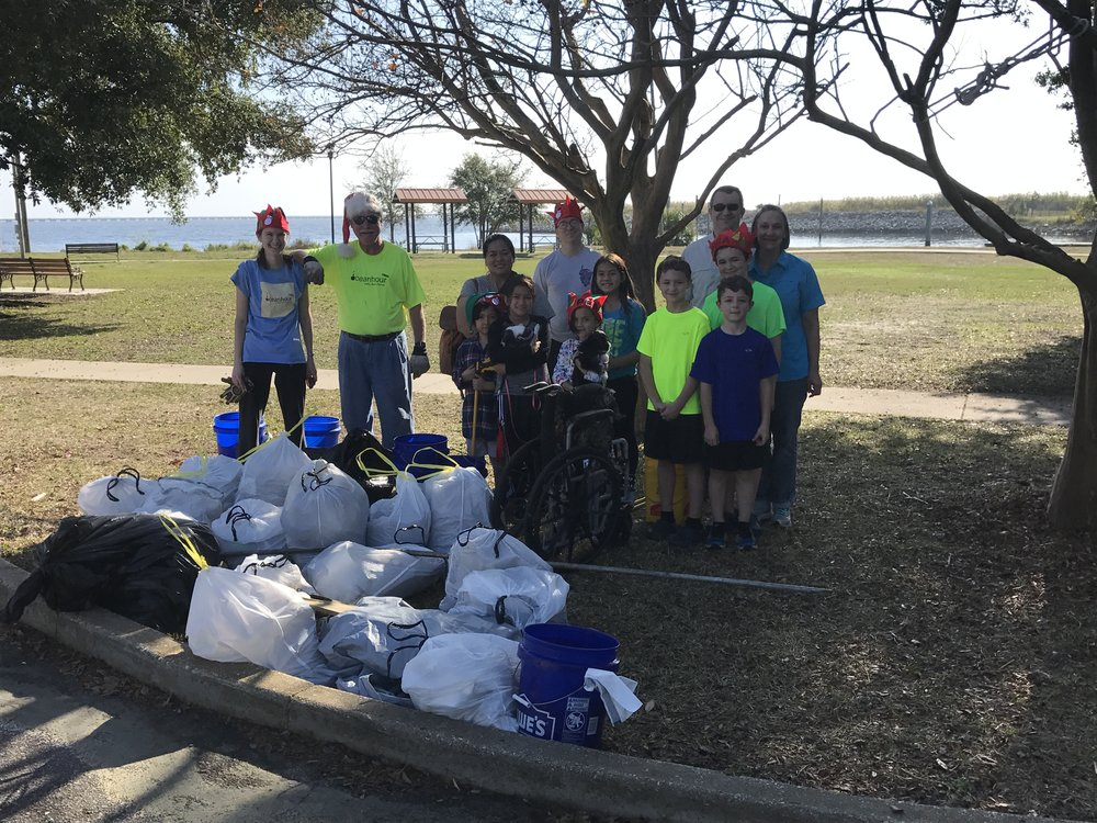 On the last OceanHour cleanup of 2016, 15 volunteers picked up 194 lbs of trash at Bartram Park. The wheelchair was a sad surprise. A further 3 volunteers at Project Greenshores picked up 12 lbs. The trash filled 18-13 Gal. and 4-33 Gal. trash bags. A lot of styrofoam taking up space!