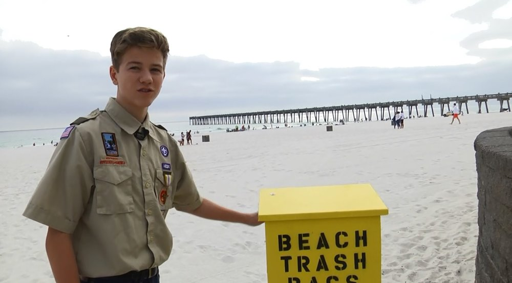 Connor Stewart ran with an idea from Sharon of Ocean Hour to help cleanup our beaches. He is working towards becoming an Eagle Scout. Video link:   wkrg.com/2016/12/29/boy-scout-creates-beach-cleanliness-boxes/