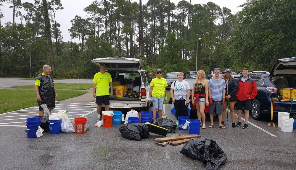 17 volunteers picked up 66 lbs. of cig butts, plastic wrappers and styrofoam
