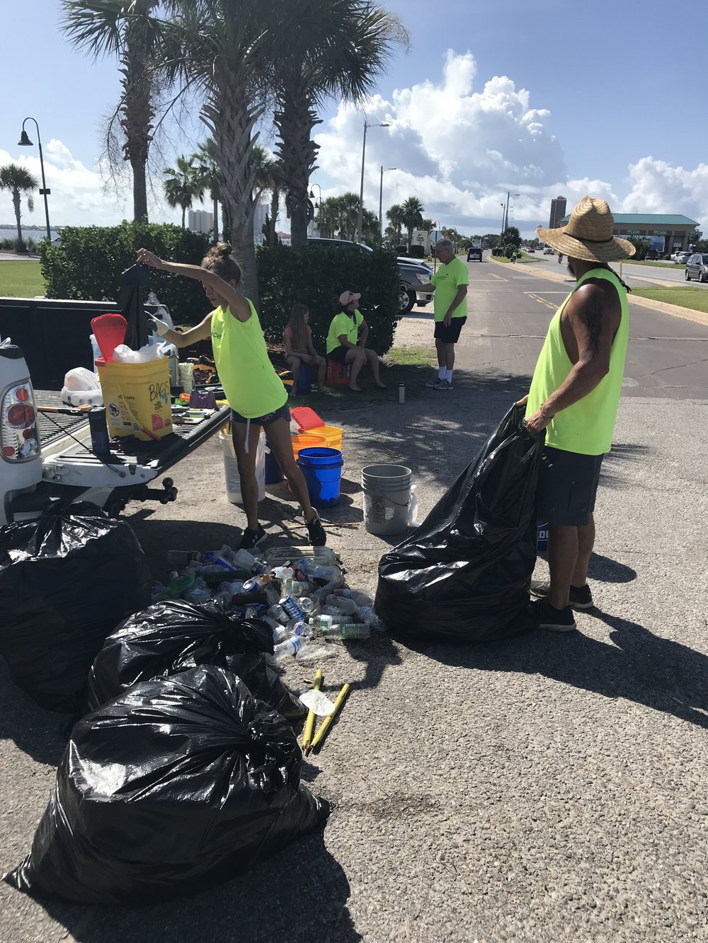 - 17 volunteers picked up 128 lbs of trash from the Bob Sikes' fishing pier to James P Morgan Memorial Park. Of the five 33 gal trash bags, one was recyclable plastic bottles/cans