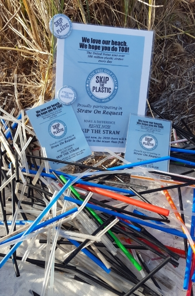 - Don't be surprised to have to request a straw from your server at a local restaurant/bar. OcaenHour FL has provided these displays and pins for restaurants.