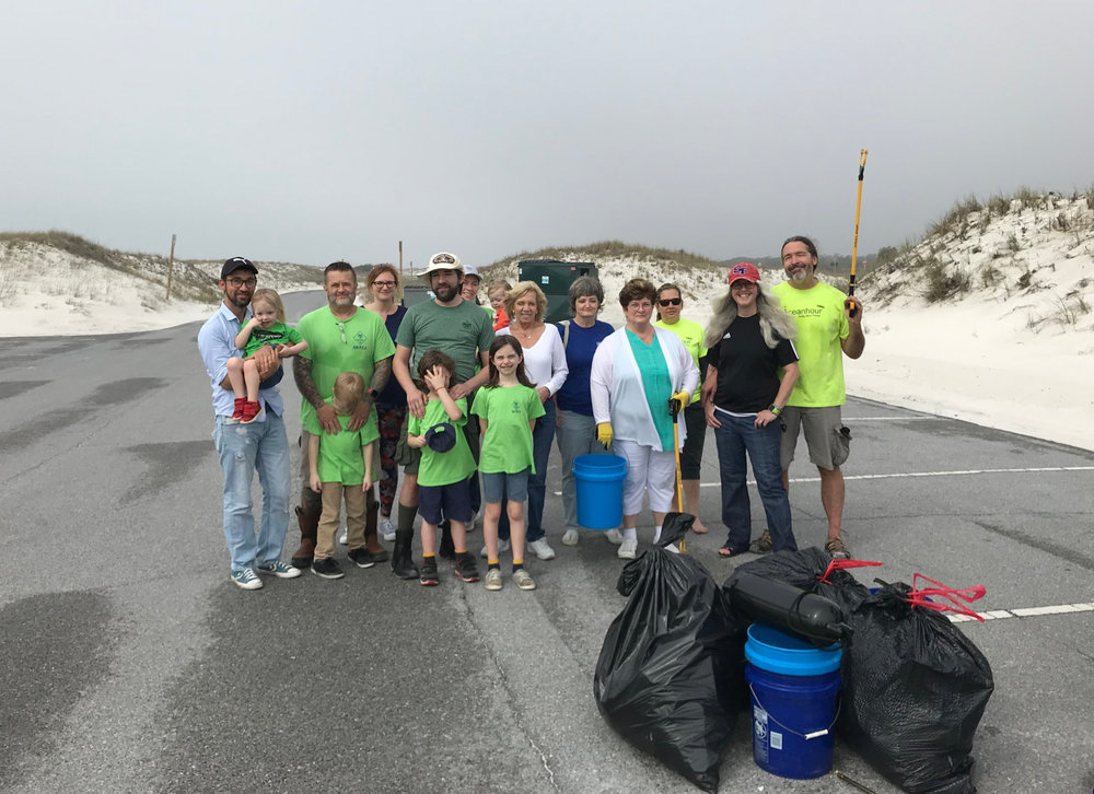 - 52 volunteers at Ft. Pickens Fishing Pier, Langdon Beach and Lot 19A picked up 330 lbs of trash. Month's total of 1,912 lbs! Well ahead of last year - thanks volunteers! Odd stuff - a wall thermostat, Cub Pack 410 made it out