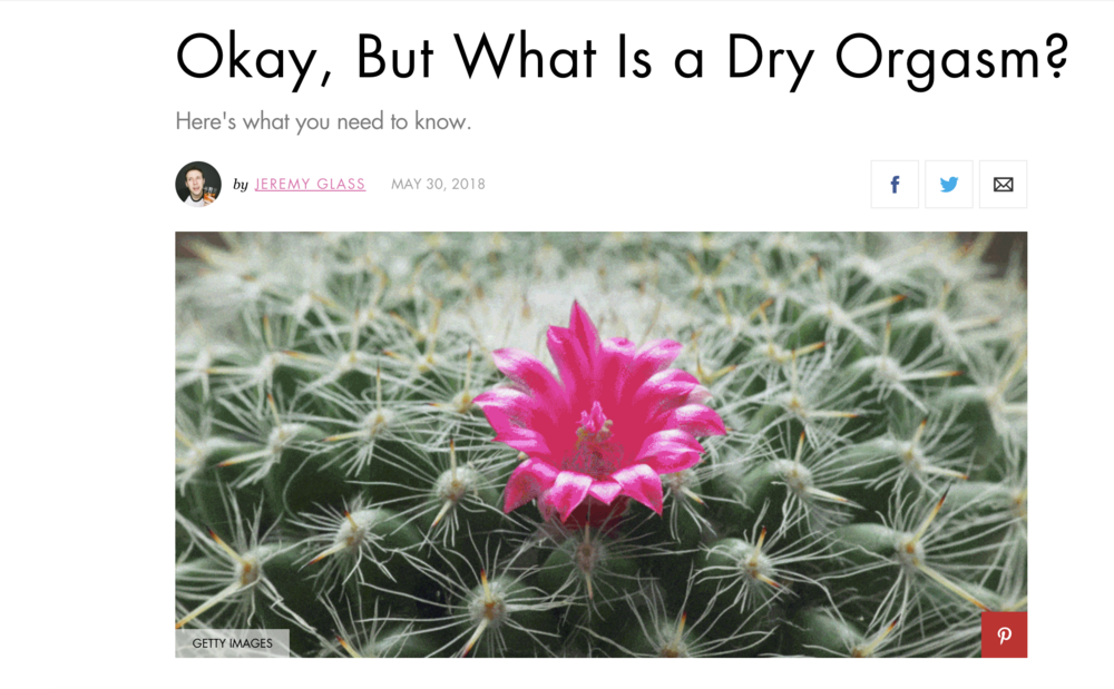 "Okay, But What Is a Dry Orgasm? [Cosmopolitan] - Sex Ed can be a complicated and embarrassing subject for horny, confused, acne-ridden hormone bombs known as ""adolescents."" Alongside the legal difficulty of even being allowed to teach students about the Birds and the Bees, there is a boatload of misinformation — as well as completely glossed-over facts — that young adults are missing out on all across the country. [READ MORE]"