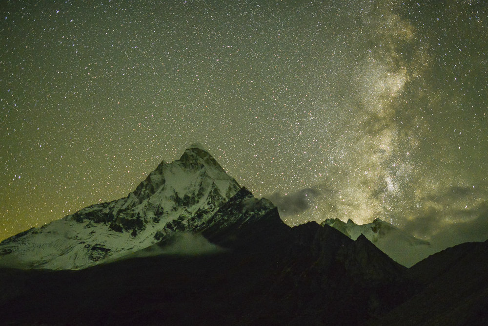 The Milky Way rises behind Shivling high on the Gangotri Glacier, Uttarakhand, India. Photo © Pete McBride.