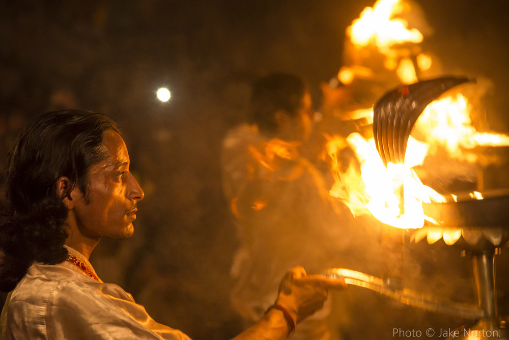 A Hindu priest performs Ganga Aarti at Dashaswamedh ghat, Varanasi, Uttar Pradesh, India. Photo © Jake Norton.