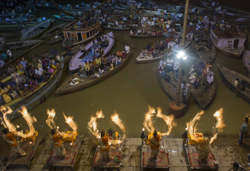 Ganga aarti in Varanasi, Uttar Pradesh, India. Photo © Pete McBride.