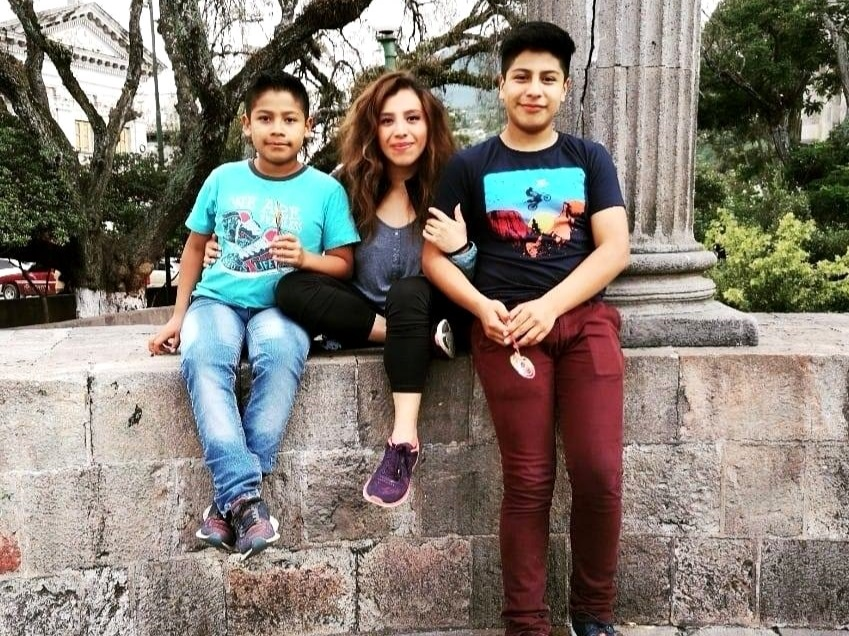 Nelly with sons Mathew, 12, and Ethan, 14