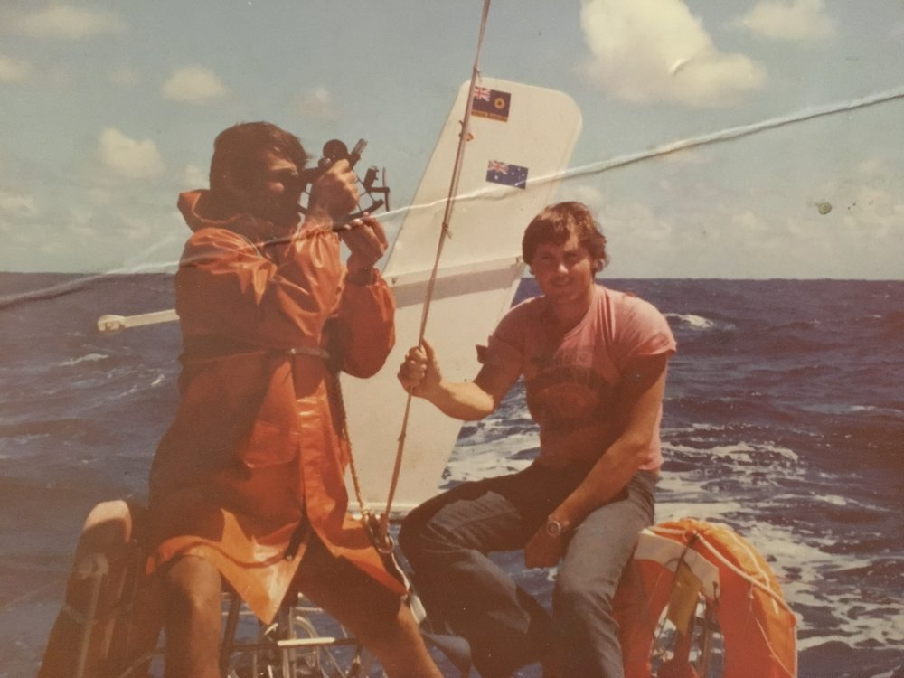 (A much younger) Dad sailing around the world