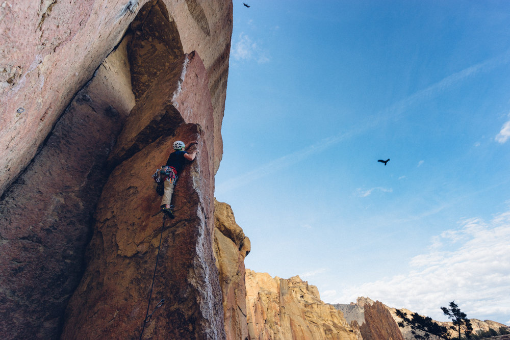 2. On a guy trip to Smith Rock, Oregon I took this shot of a friend Ben Buker leading Panic Attack (5.11d). The two ravens in the sky were completely random but super awesome.