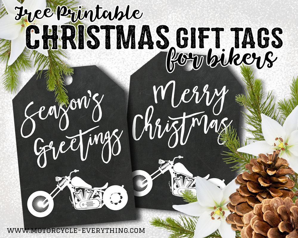 these motorcycle christmas gift tags were designed especially for motorcycle everything by glitter n spice and you can find more of her printable designs
