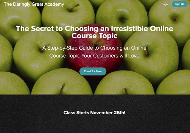 """Registration for FREE course on """"The secret to choosing an irresistible course topic"""" is NOW open! Class starts Nov 26! Daringlygreat.teachable.com be #daringlygreat . . . . .  #solopreneur #entrepreneur #smallbusiness #onlinecourse #free #freedom #teachable #growth #femalepreneur"""