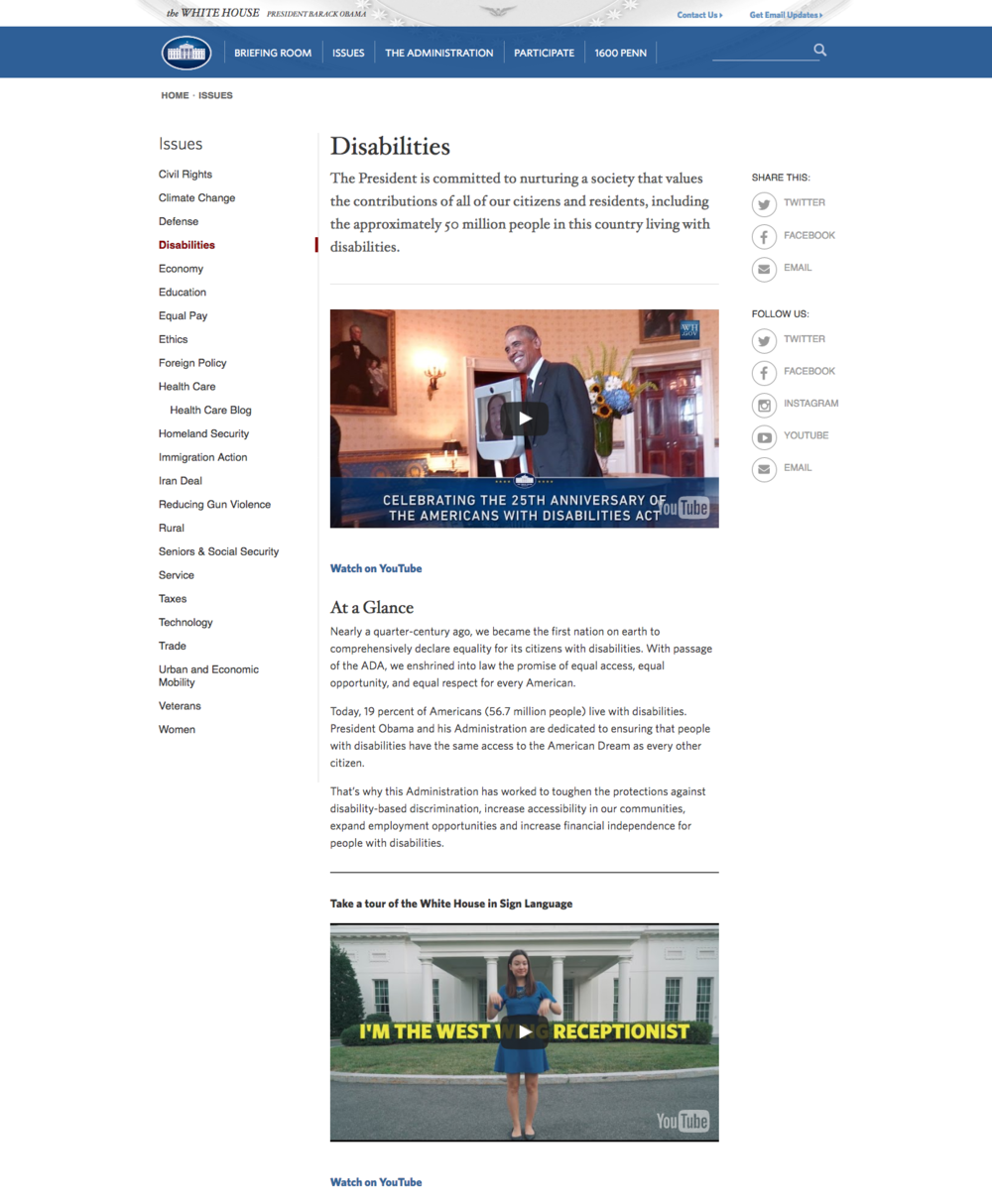 Based on research that most users come to this page with the goal of learning about President Obama's record on disability rights, I redesigned this webpage to include more introductory content on President Obama's record at the forefront of the page.
