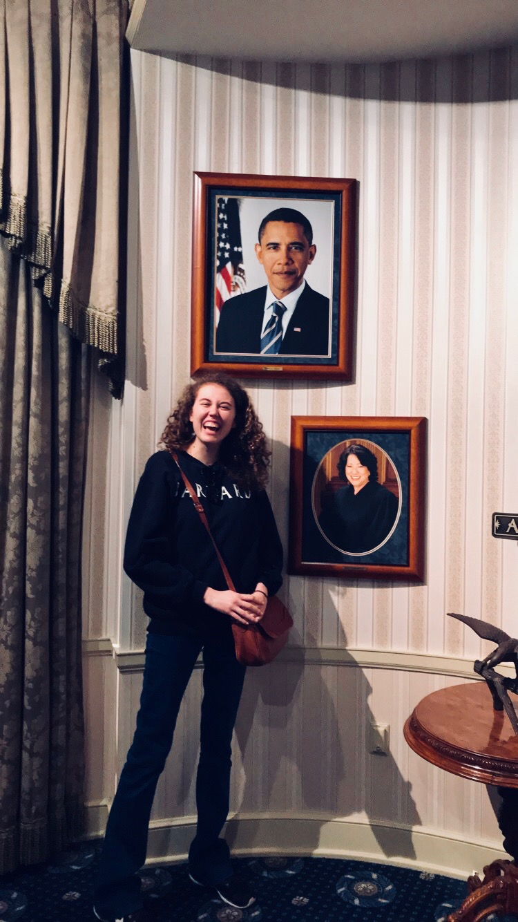 Me and the portrait of President Obama after I cried at the Hall of Presidents exhibit in Disneyland :'), May 2018 -