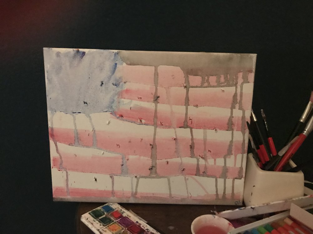 A painting I made about a week ago - this is how I feel about the state of America at the moment -