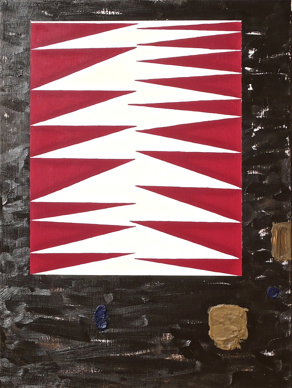 "Board Drop 2012  oil and encaustic on linen  24"" x 18'"