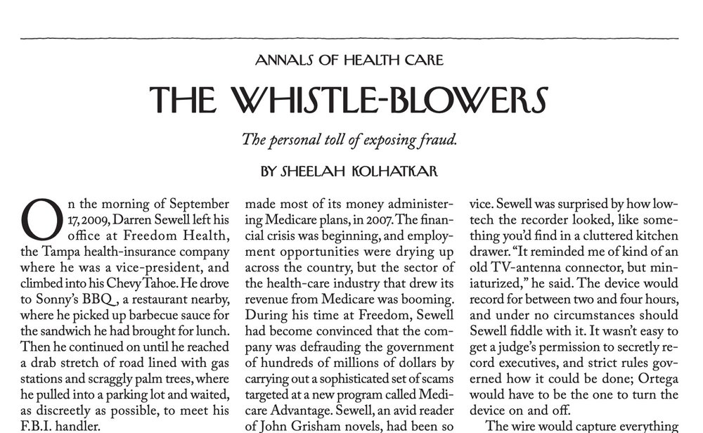The Whistleblowers • The Personal Toll of Exposing Fraud •   The New Yorker