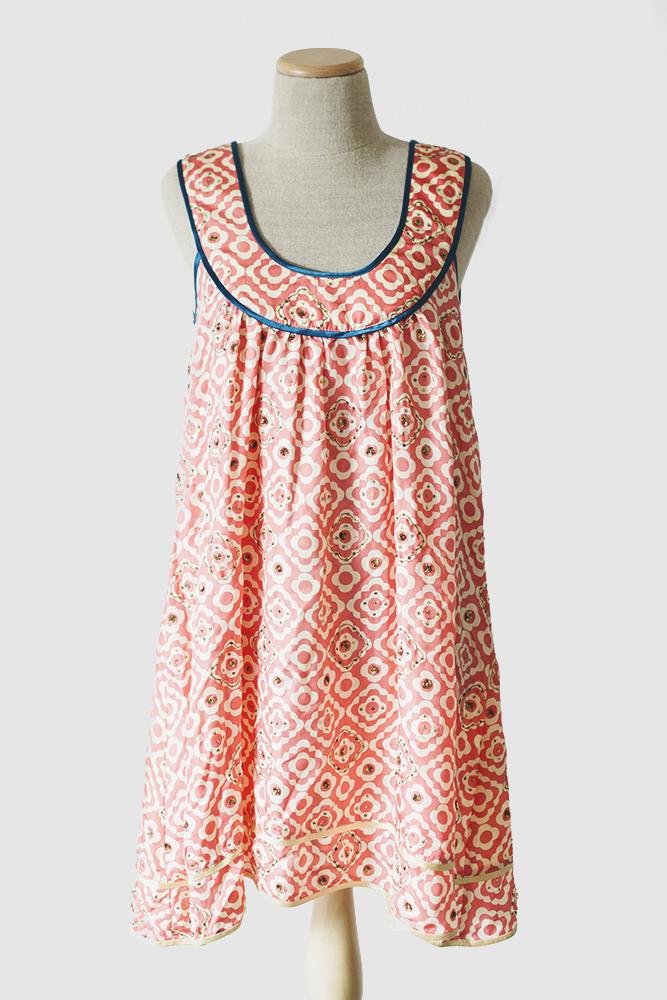 Patterned Coral & Blue Trelise Cooper Dress [S-M]