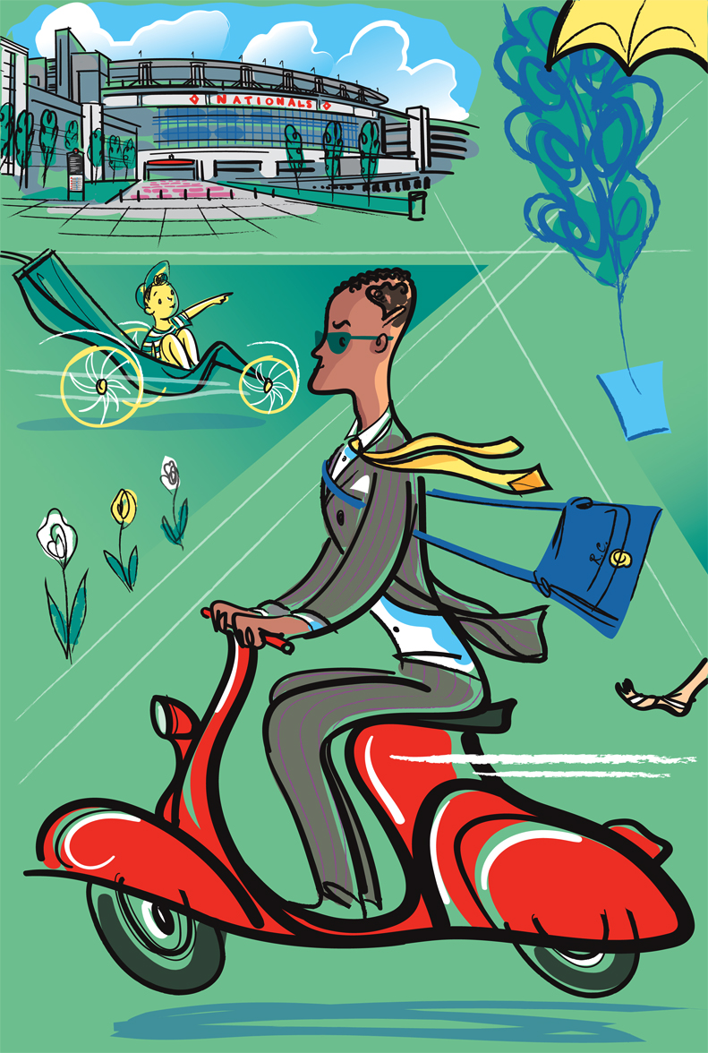 this is one of the 12 illustration panels I created for the project... which depicts a man zooming off to work on his scooter, and in the background is the Nationals baseball stadium.