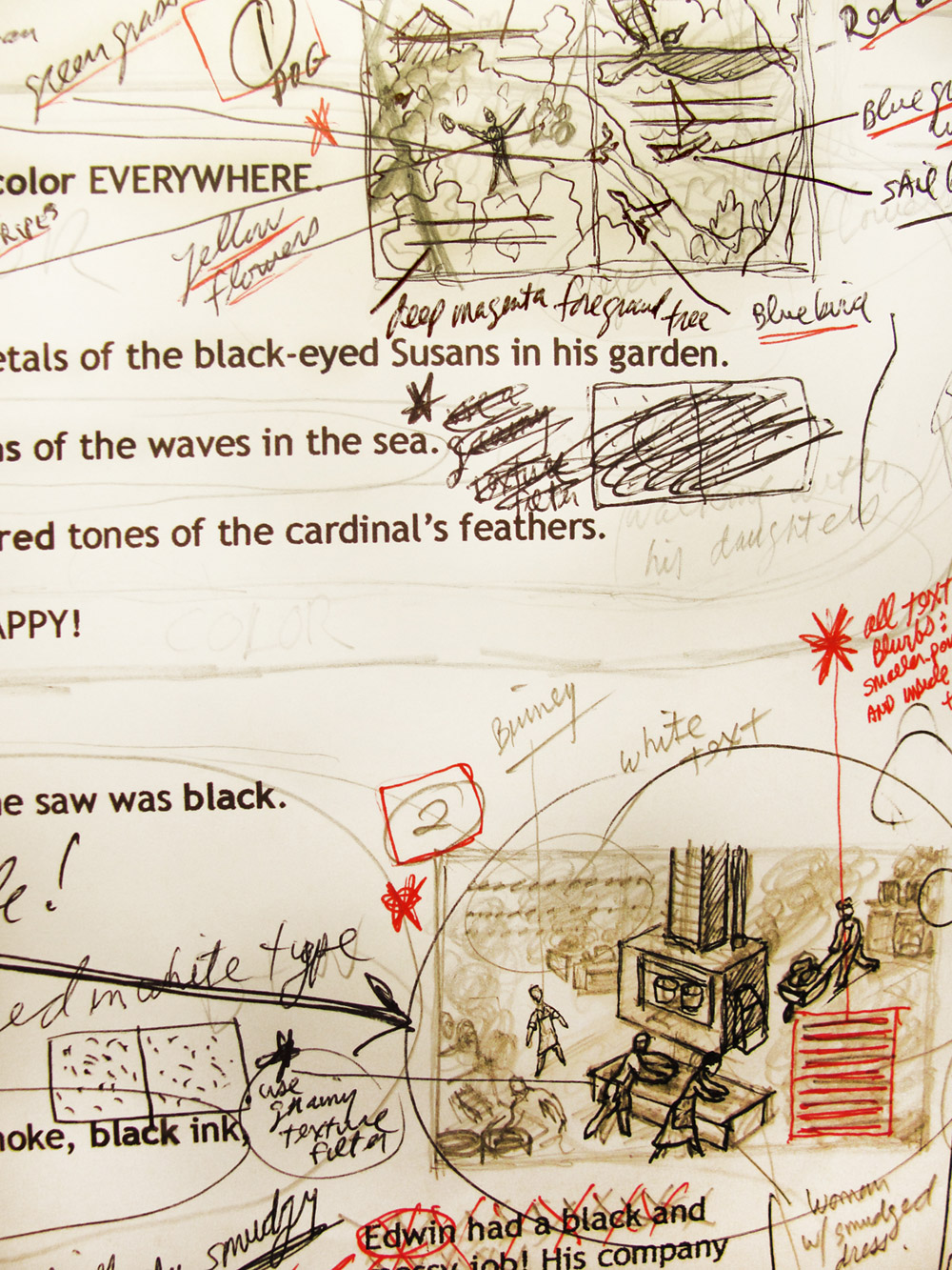 above:  cropped detail view of the  story manuscript  for  The Crayon Man  -with my quick, tiny  thumbnail sketches  drawn directly into the manuscript margins -wherein I begin to immediately work out content and composition of the planned illustrations… and even the rough blocking placement of the corresponding story text.
