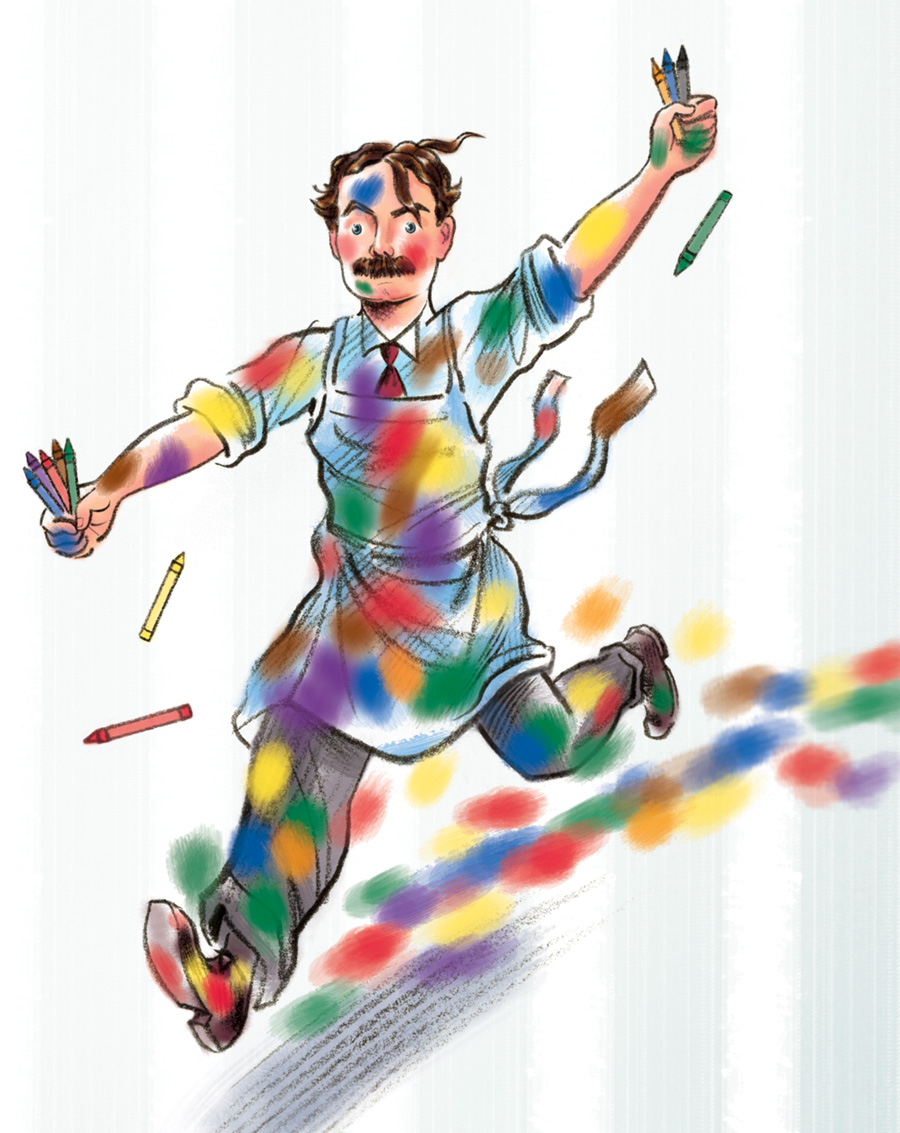 above  is a small vignette illustration from  The Crayon Man  -depicting  Edwin Binney  on the day he successfully finalized the recipe for his invention,  Crayola Crayons!