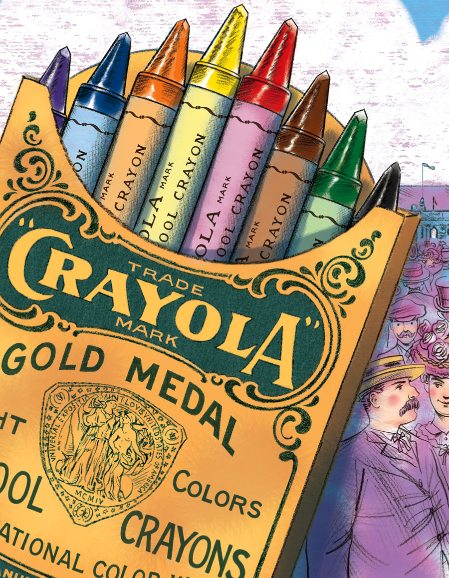 above 3 images:   at  top  is the  initial thumbnail rough sketch … and in the  middle  is the corresponding  final stage sketch  based on the thumbnail's core idea:  The new Crayola Crayons debuting at the 1904 World's Fair in St Louis.  And at the  bottom  is a cropped detail view of the  completed final illustration.  (by the time of the 1904 World's Fair the crayon packaging became the recognizable yellow & green)