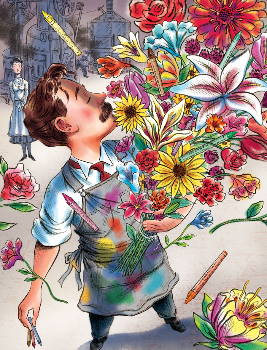above  is a cropped detail view of one of the  final illustrations …   depicting  Edwin Binney  appreciating the magnificent scent of a big bouquet of flowers, which he often used as inspiration when developing new colors for his   Crayola Crayons .