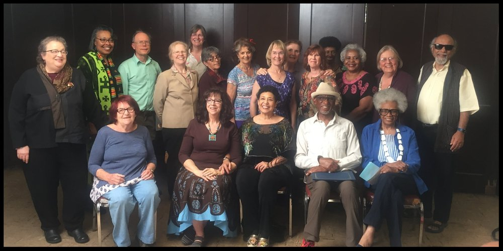 2018 EPIC Graduates  (top row left to right) : Melinda Ginne, Linda Wright, Tom Pulsifer, Ida Johnson, Cynthia Cudaback, Albertina Zarazua Padilla, Naomi Puro, Melissa Hobbs, Gerry Keenan, Susan Shampanier, Linda Moore, Loretta Rose, Jennifer Biehn, Kiran Rana ( Bottom Row:)  Claire Wahrhaftig, LaVonne Taft, Eleanor Clement Glass, Ben Tucker, Lois Kincy  (Not Pictured: Barbara Rogers, Bill Zarchy; EPIC Instructors: Kirk Waller, Mary Gay Ducey, Olga Loya, Jeanne Haynes; Workshop Leaders: Willy Claflin, Joel ben Izzy, Marijo & Sara Armstrong)