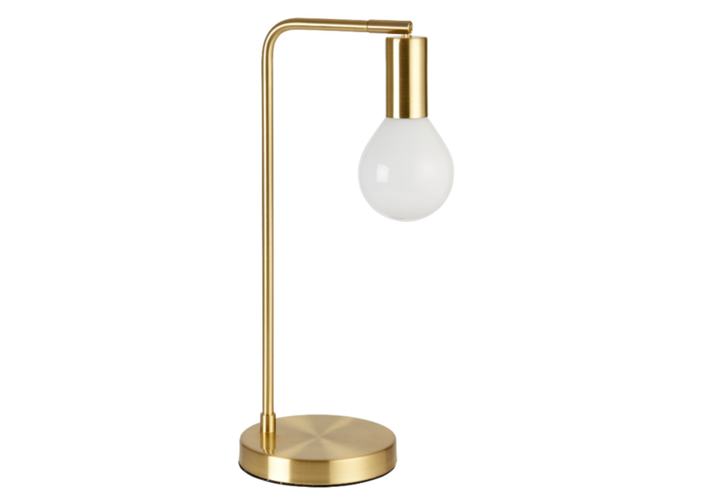 CHANNING BRUSH GOLD TABLE LAMP    £72 - now £30!  This was a later addition to our bar as it matched the chanderlier but in an unexpected way. I love the architectural minimalism of this piece, and the price tag to boot!
