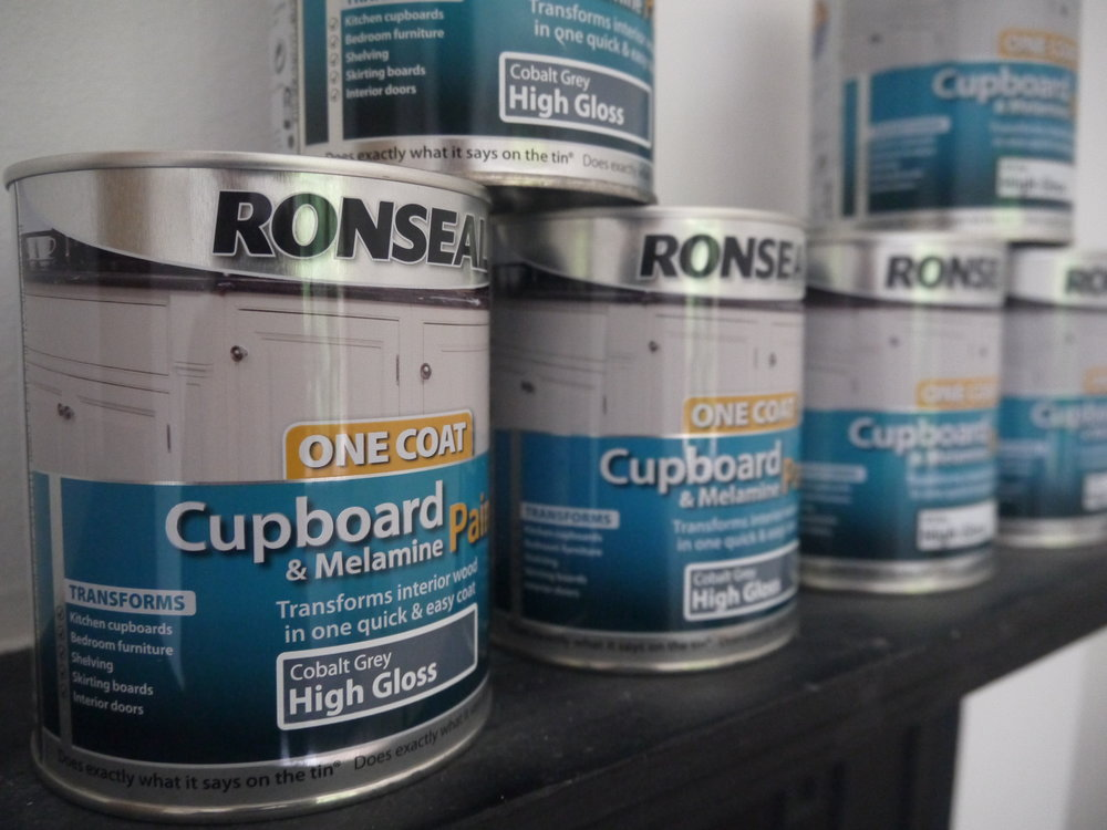 We used  Ronseal Cupboard & Melamine Paint in White  & Colbalt Grey