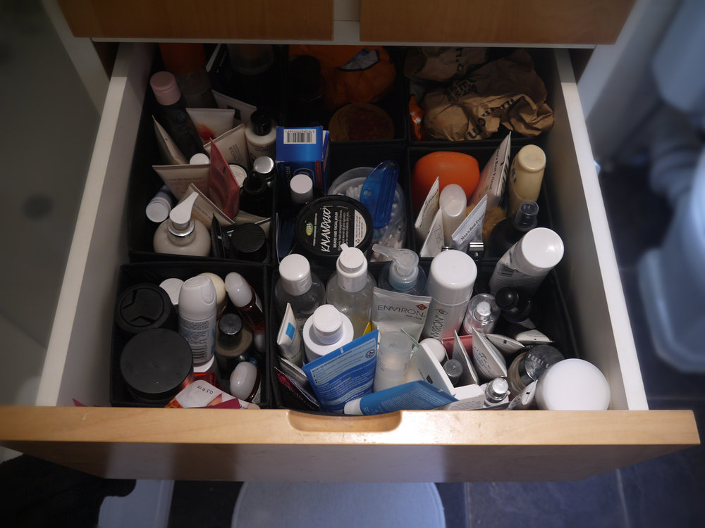 Drawer Categorisation | Face, body and bath products - I should probably purge some more items.