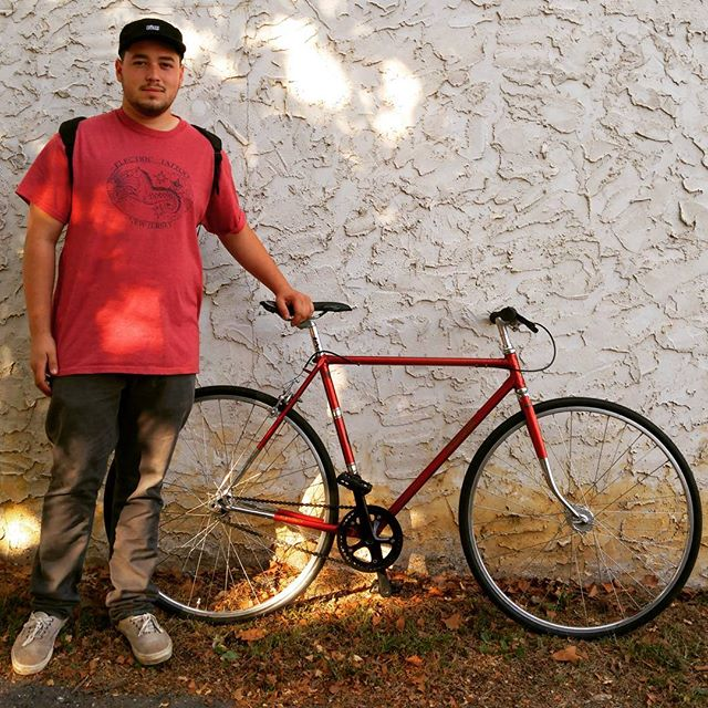 @jakesugar on his custom build Reynolds 531 Raleigh Single Speed! Custom builds at @matawanbikeshop  @matawanbikeshop  @matawanbikeshop  #Matawan #singlespeed #fixie #trackbike #newjersey #newyork #cycling #bikeshop #reynolds531 #raleigh
