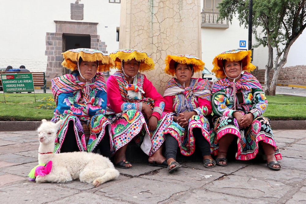 Cusco women with baby llama