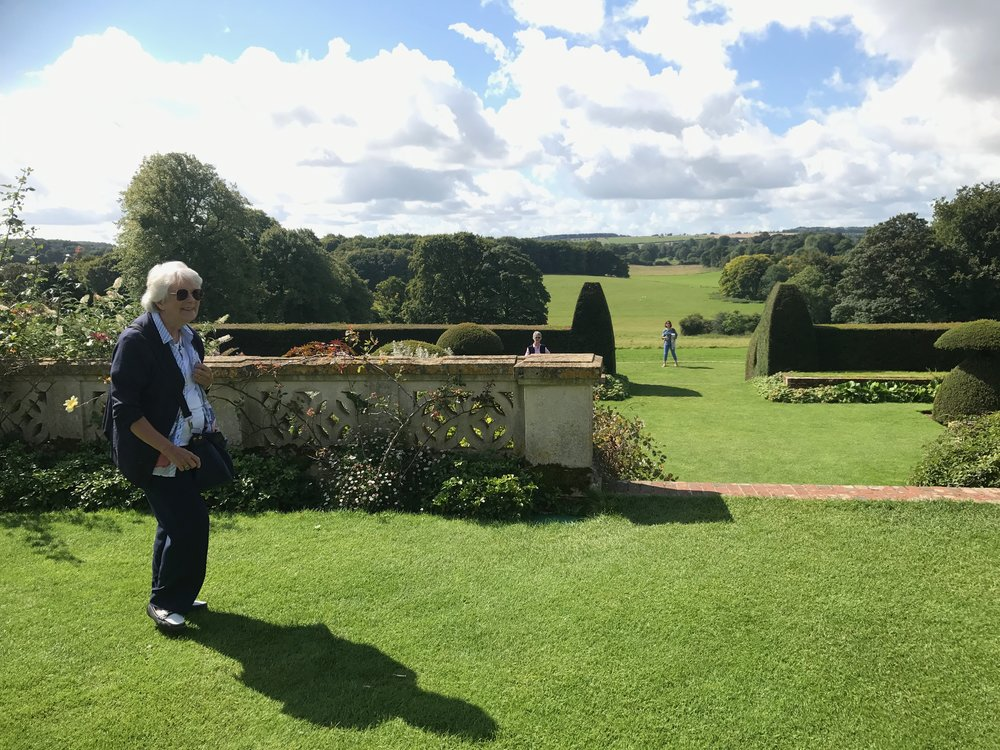 My mother Heather in the gardens at Hinton Ampner House in Hampshire.