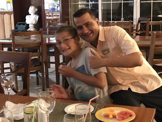 14th birthday celebrations with an over-enthusiastic waiter, Cayo Guillermo, Cuba