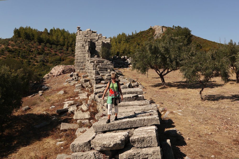 Walking around Ancient Messene and (below) on the track to the end of Greece.