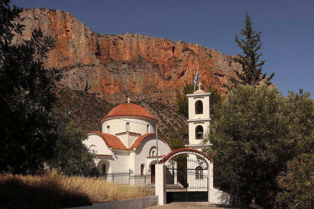 Leonidio church, tucked at the end of the impressive Dafnon gorge