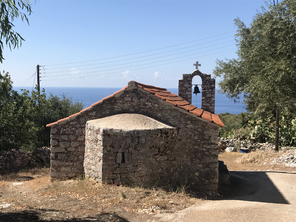 Stone church in the tiny Mani village of Omales, near Areopoli