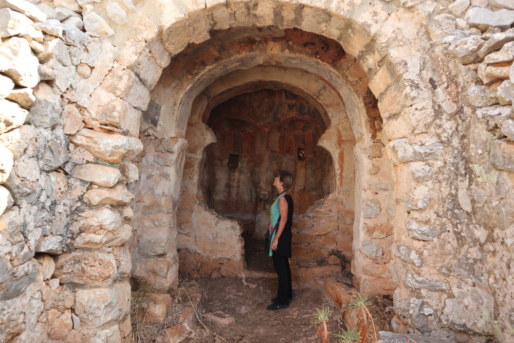 We struggled to find the abandoned, half-ruined Ayios Panteleimon church in the middle of an olive grove near Gerolimenas in the south of the Mani. It was built in 991AD, making it one of the oldest in Greece, but amazingly you can still see the frescoes inside (see below)