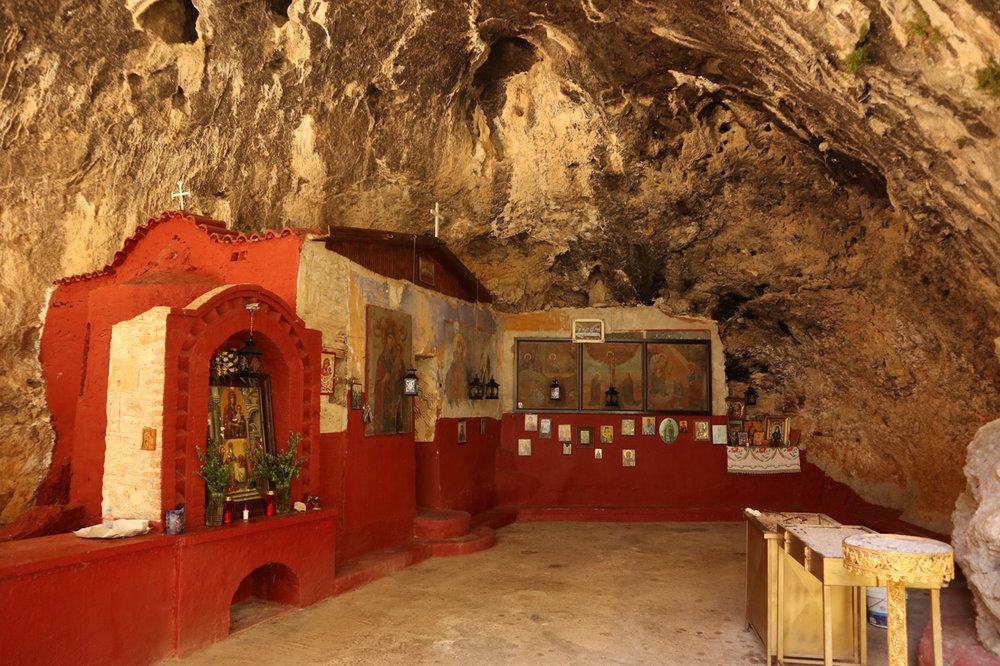 Panagia Lagadiotisa cave church in a Taygetos Mountain gorge, near Mystra