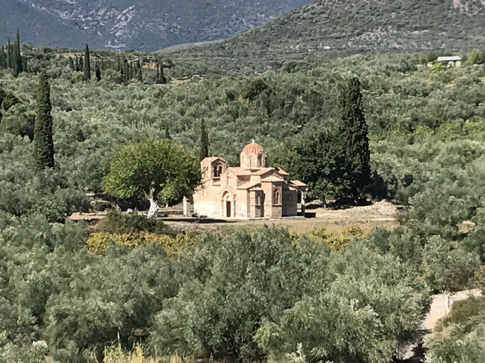 This church gets the prize for my favourite name (as well as being pretty gorgeous). It's the church of the Virgin Zoodochos Pege Samarina, between Ancient Messene and Chora