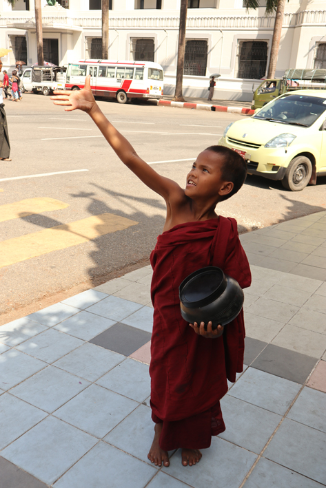 A young monk gets a bit of merit too
